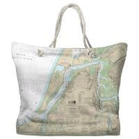 OR: Coos Bay, OR Nautical Chart Tote Bag