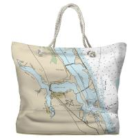 FL: Jensen Beach, Stuart, FL Nautical Chart Tote Bag