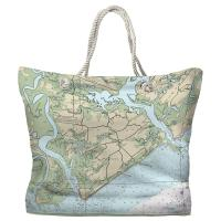 SC: Edisto Island, SC Nautical Chart Tote Bag