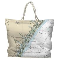 NC: Wrightsville Beach, NC Nautical Chart Tote Bag
