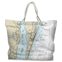 NC: Carolina Beach, Wilmington Beach, Kure Beach, NC Nautical Chart Tote Bag