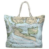 NC: Harkers Island, NC Nautical Chart Tote Bag