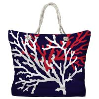 Coral Duo on Navy Tote Bag