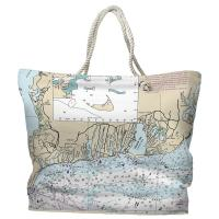MA: Falmouth, MA Nautical Chart Tote Bag