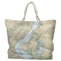 DE: Wilmington, DE Nautical Chart Tote Bag