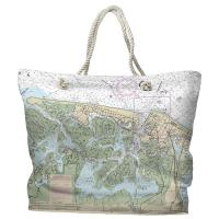 NJ: Brigantine, Atlantic City, NJ Nautical Chart Tote Bag