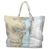 NJ: Toms River, NJ Nautical Chart Tote Bag