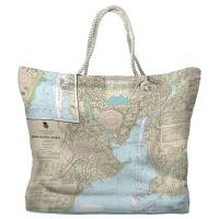 CT: New Haven, CT Nautical Chart Tote Bag