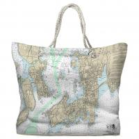 RI: Newport, Jamestown, RI Nautical Chart Tote Bag