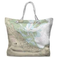MA: Plymouth, MA Nautical Chart Tote Bag