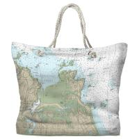 MA: Cohasset Harbor, MA Nautical Chart Tote Bag