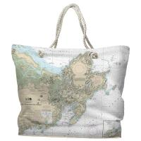 MA: Cape Ann, MA Nautical Chart Tote Bag