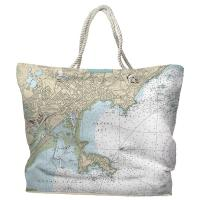 MA: Lynn, Nahant, MA Nautical Chart Tote Bag