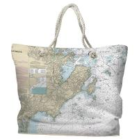 MA: Marblehead, Salem, MA Nautical Chart Tote Bag