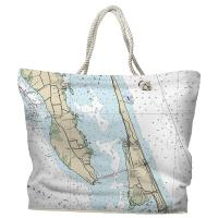 NC: Duck, Southern Shores, Kitty Hawk, NC Nautical Chart Tote Bag
