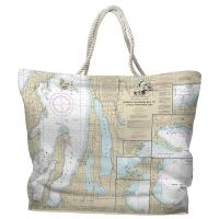 MI: Traverse City, MI Nautical Chart Tote Bag