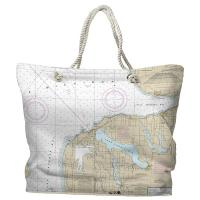 MI: Charlevoix, MI Nautical Chart Tote Bag