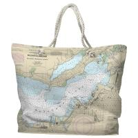 MI: Muskegon, MI Nautical Chart Tote Bag