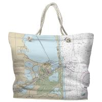 TX: Port Isabel, South Padre Island, TX Nautical Chart Tote Bag