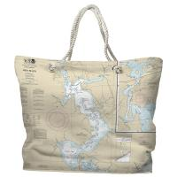NC: Jacksonville, New River, NC Nautical Chart Tote Bag