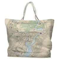 NJ: Newark, Jersey City, NJ Nautical Chart Tote Bag