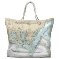 NC: Beaufort Inlet, Core Sound, NC Nautical Chart Tote Bag