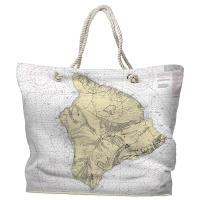 HI: Island of Hawaii Nautical Chart Tote Bag
