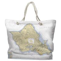 HI: Oahu, HI Nautical Chart Tote Bag