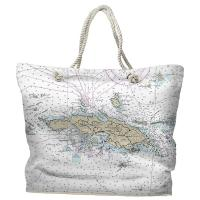 USVI: St. Thomas, USVI Nautical Chart Tote Bag