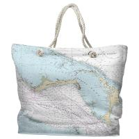 Grand Bahama, Abaco, Bahamas Nautical Chart Tote Bag