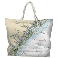 NC: Figure Eight Island, NC Nautical Chart Tote Bag