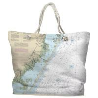 NJ: Long Beach Island, NJ Nautical Chart Tote Bag