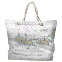 USVI: St. Thomas, St. John, USVI Nautical Chart Tote Bag