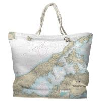 NY: Shelter Island Sound and Peconic Bays, NY Nautical Chart Tote Bag