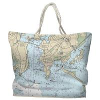 CT: Stonington, CT Nautical Chart Tote Bag
