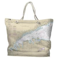 NY: Long Island Sound, NY Nautical Chart Tote Bag