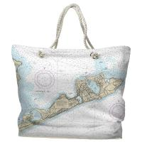 NY: Montauk, NY Nautical Chart Tote Bag