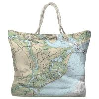 SC: James Island, Folly Island, SC Nautical Chart Tote Bag
