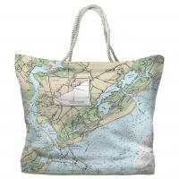 SC: Sullivans Island, Isle of Palms, SC Nautical Chart Tote Bag