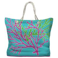Coral Duo Pink & Green on Blue Tote Bag