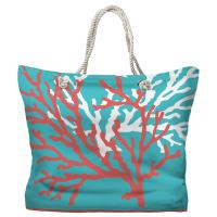 Coral Duo Coral & White on Blue Tote Bag