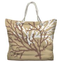 Coral Duo on Beach Sand Brown Tote Bag