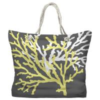 Coral Duo on Gray Tote Bag