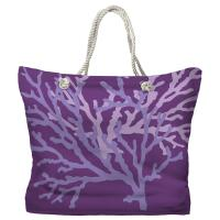 Coral Duo on Purple Tote Bag