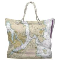 WA: Bremerton, Bainbridge Island, Seattle, WA Nautical Chart Tote Bag