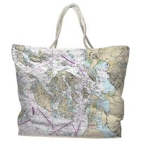 WA: San Juan Islands, Bellingham, Anacortes, WA Nautical Chart Tote Bag