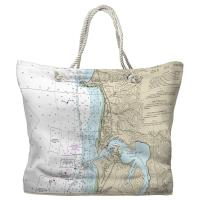OR: Approaches to Yaquina Bay, OR Nautical Chart Tote Bag / 2 Different Sides