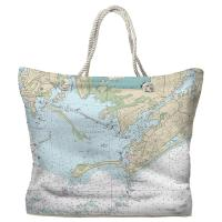 RI: Watch Hill, RI Nautical Chart Tote Bag