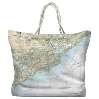 SC: Charleston Harbor and Approaches, SC Nautical Chart Tote Bag