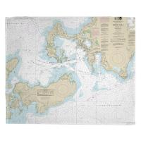 MA: Woods Hole, MA Nautical Chart Blanket